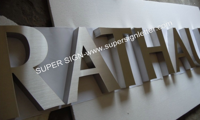 built-up brushed stainless steel letters 01