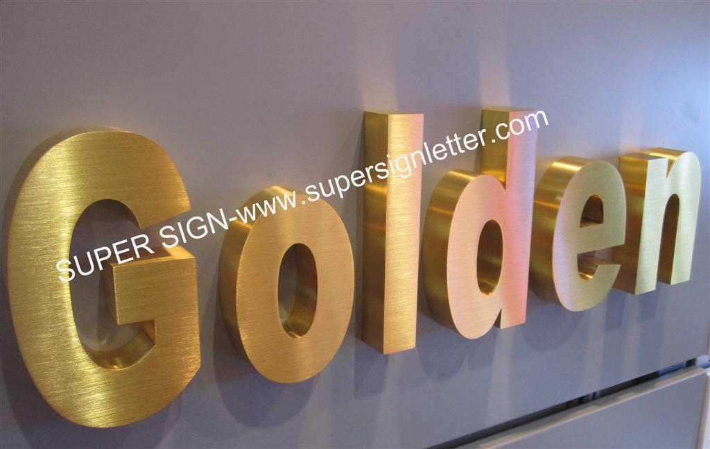 Stainless steel letters golden brushed steel letters for Store sign letters